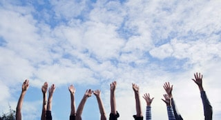Hands in the air.