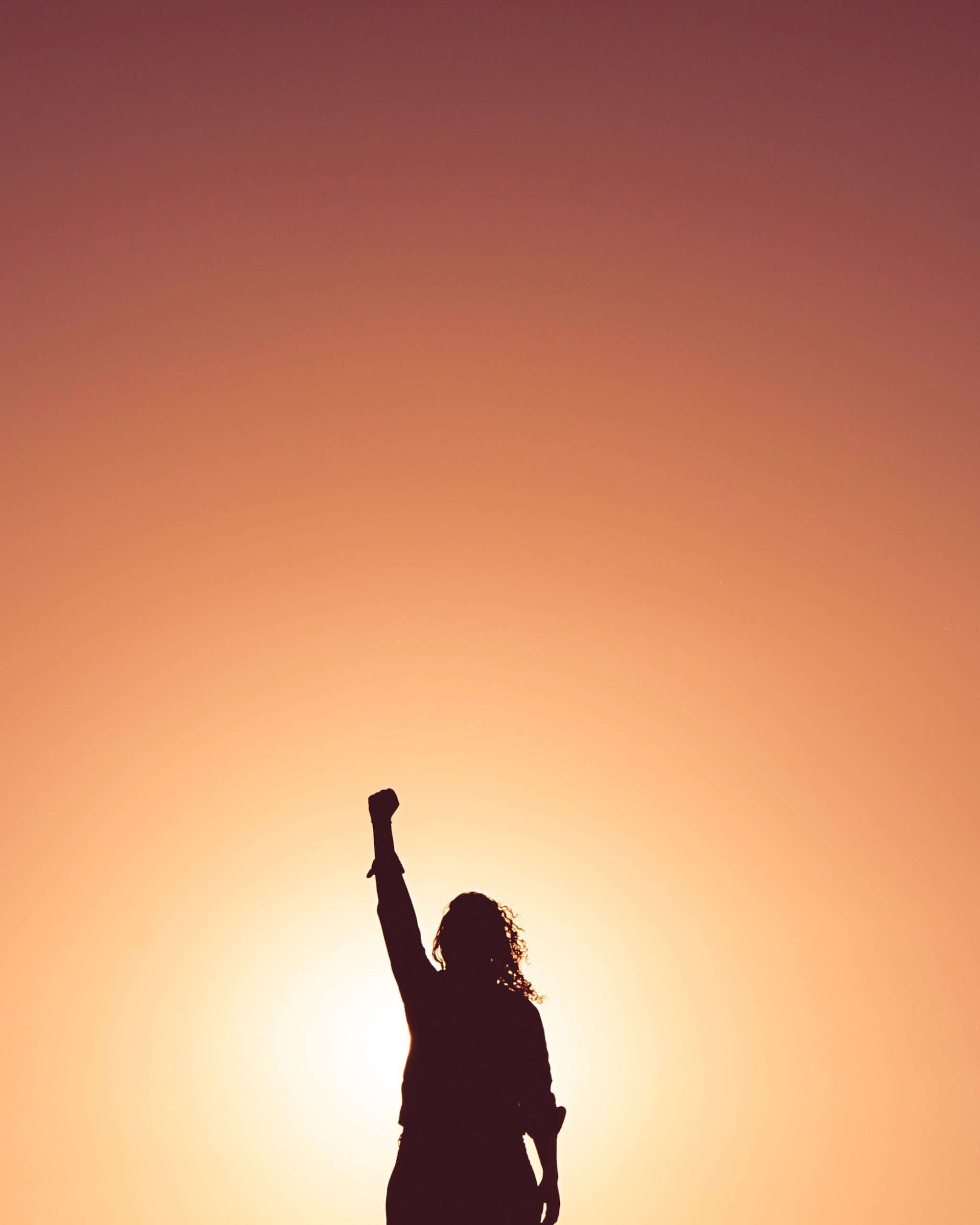 Woman raising fist in the air at sunset