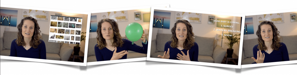 Still images from our online hypnobirthing course.
